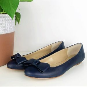 💛 Ann Taylor Navy Blue Bow Flat Slip On Leather